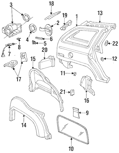 QUARTER PANEL & COMPONENTS for 1993 Ford Taurus