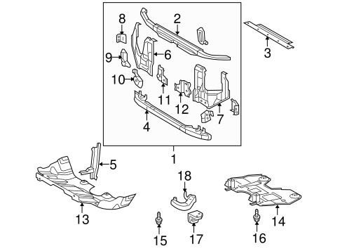 Genuine OEM Radiator Support Parts for 2007 Toyota Tacoma