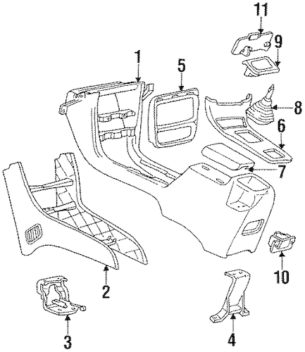 FLOOR CONSOLE Parts for 1994 Chevrolet Cavalier