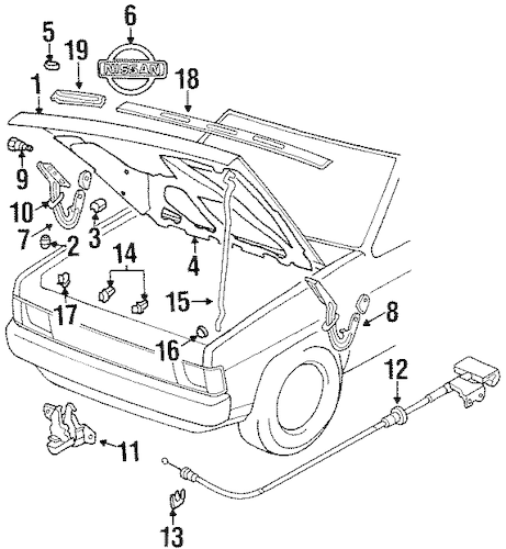 HOOD & COMPONENTS for 1990 Nissan D21