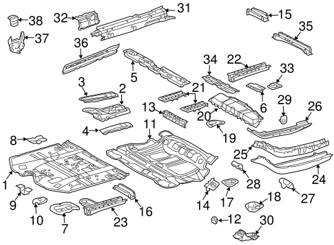 Genuine OEM Floor & Rails Parts for 2007 Toyota Highlander