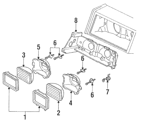 Headlamp Components for 1993 Chrysler Imperial Parts