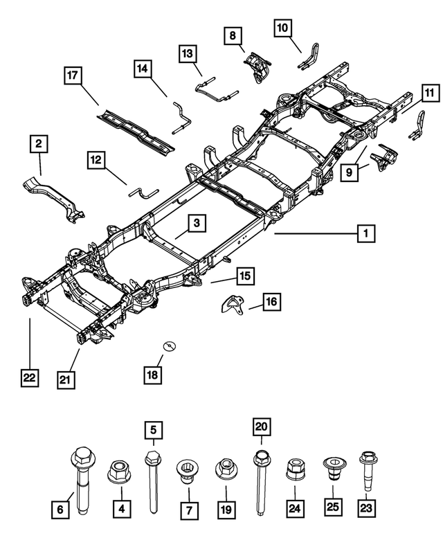 2013 Ram 1500 Chassis Frame Assembly 68321016AB