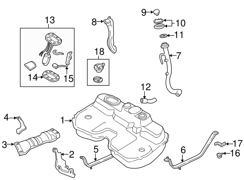 1998-1999 Subaru Legacy 2.5L Fuel Tank Filler Neck / Pipe