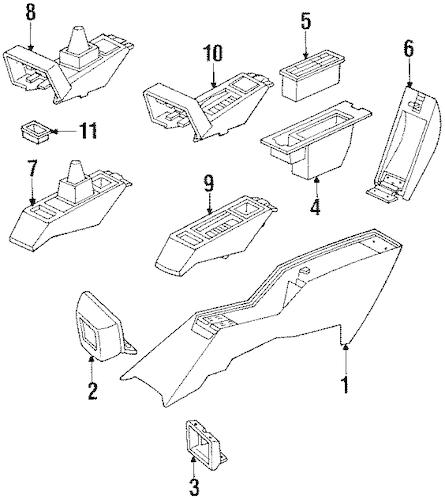 OEM 1991 Pontiac Grand Prix Front Console Parts