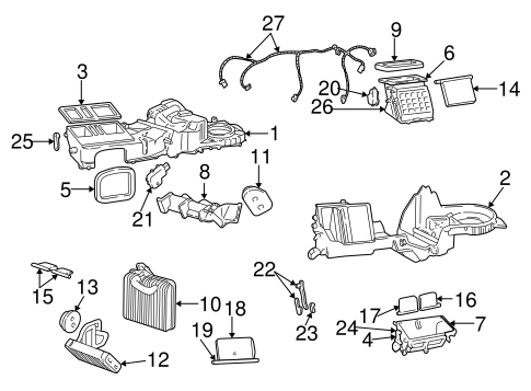 Evaporator & Heater Components for 1999 Jeep Grand