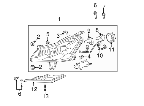 OEM 2009 Chevrolet Traverse Headlamp Components Parts