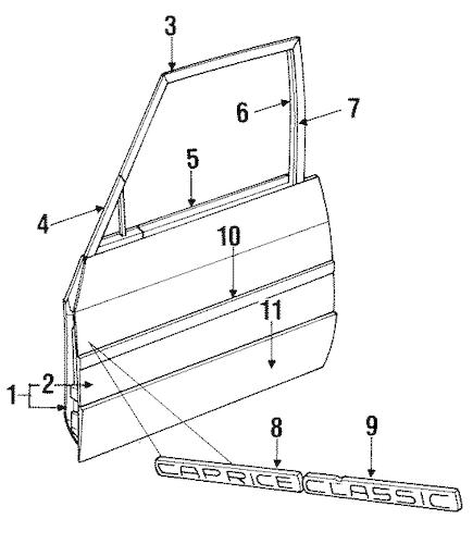 DOOR & COMPONENTS for 1996 Chevrolet Impala