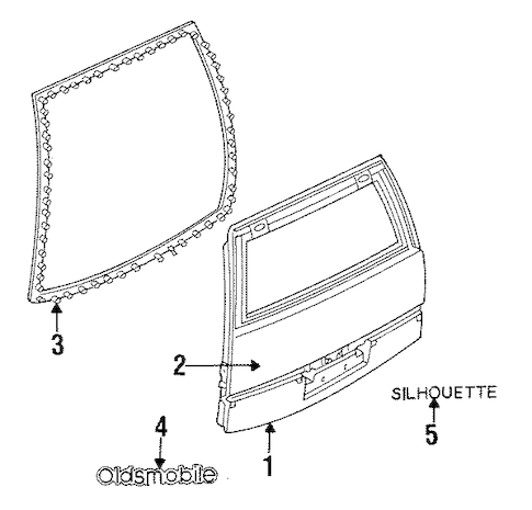 OEM 1993 Oldsmobile Silhouette Gate & Hardware Parts