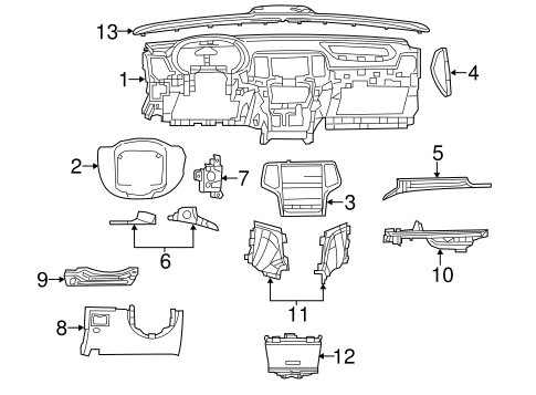 Instrument Panel Components for 2012 Jeep Grand Cherokee