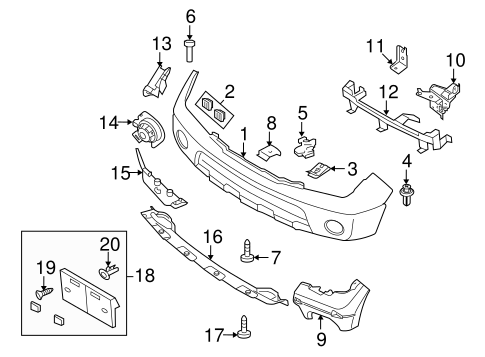 Bumper Cover Clip for 2012 Nissan Frontier|62228-ZL00A