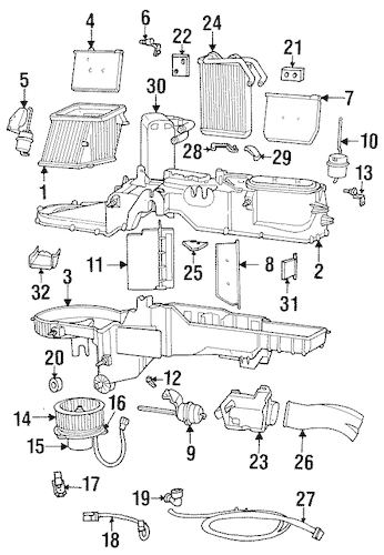 EVAPORATOR & HEATER COMPONENTS for 1999 Dodge Ram 1500