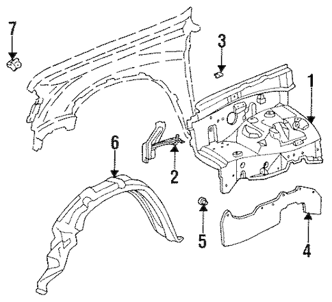 Genuine OEM INNER COMPONENTS Parts for 1996 Toyota T100