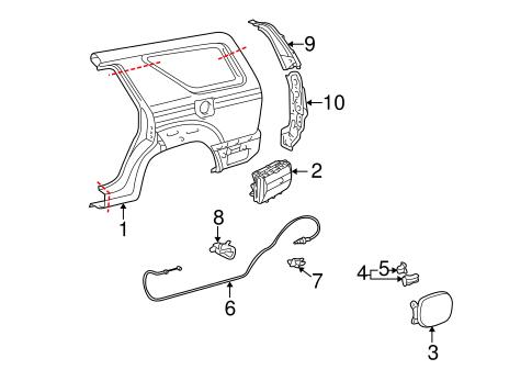 Genuine OEM Fuel Door Parts for 2004 Toyota 4Runner SR5