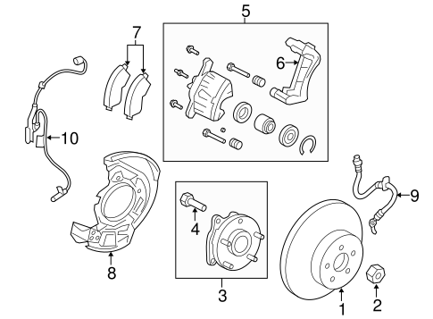 Genuine OEM Front Brakes Parts for 2013 Toyota RAV4 XLE