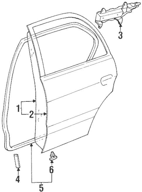 Genuine OEM Door & Components Parts for 1997 Toyota Tercel