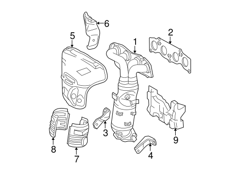 Genuine OEM EXHAUST MANIFOLD Parts for 2008 Scion tC Base