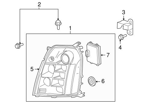 Headlamp Components for 2013 Cadillac Escalade