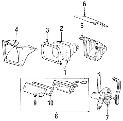 HEADLAMP COMPONENTS for 1985 Mitsubishi Starion