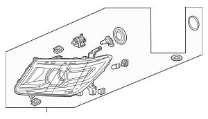 Genuine 2011-2013 Honda ODYSSEY 5-DOOR Headlight Unit, R