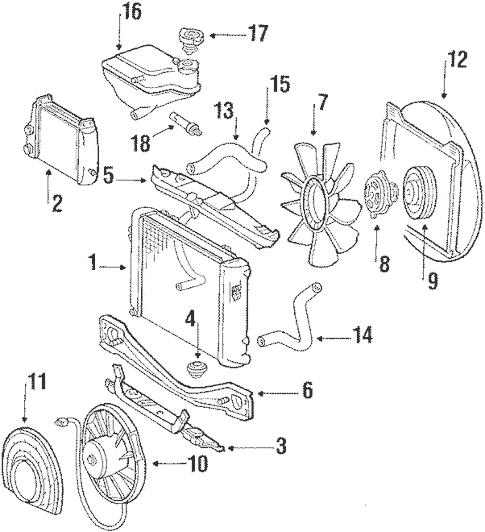Radiator & Components for 1987 Mercedes-Benz 560 SEC