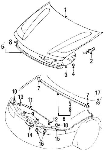HOOD & COMPONENTS for 1997 Chrysler Sebring