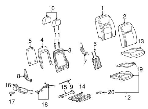 OEM 2009 Chevrolet Impala Passenger Seat Components Parts
