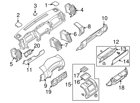 INSTRUMENT PANEL COMPONENTS for 2007 Nissan Xterra