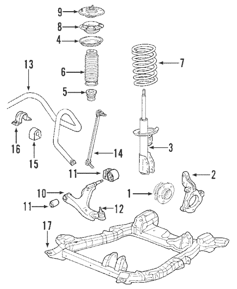 2005 chevy equinox suspension diagram bulb wiring oem chevrolet components parts front for 1