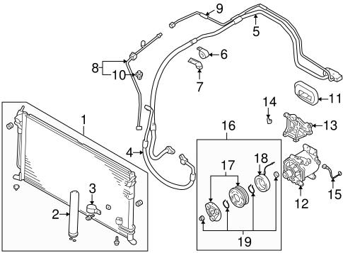 Condenser, Compressor & Lines for 2004 Mitsubishi Lancer