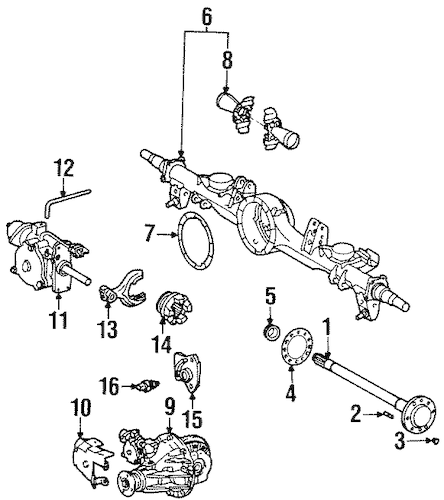 Genuine OEM Axle & Differential Parts for 1996 Toyota Land