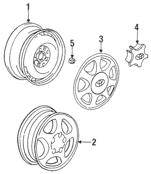 Genuine OEM Wheels Parts for 1993 Toyota MR2 Turbo