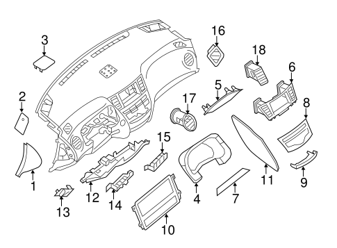 Instrument Panel Components for 2014 Nissan Pathfinder