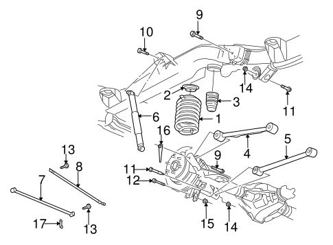 OEM 2003 Chevrolet Trailblazer Rear Suspension Parts