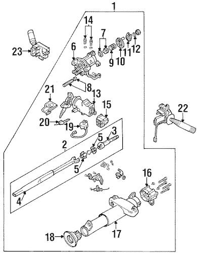 OEM 1993 Buick Skylark Steering Column Assembly Parts