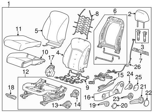 OEM 2014 Chevrolet Cruze Driver Seat Components Parts