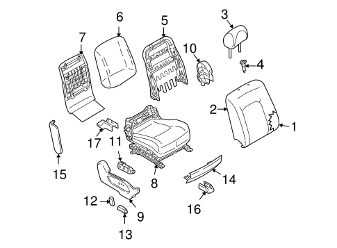 Passenger Seat Components for 2009 Nissan Murano