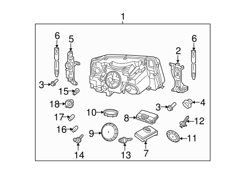 Headlamp Components for 2006 Land Rover Range Rover Sport