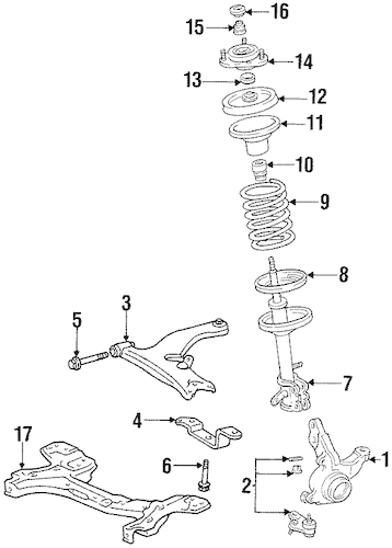 OEM 2001 Chevrolet Prizm Suspension Components Parts