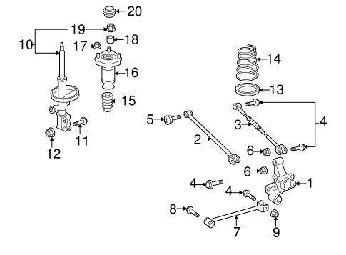 Genuine OEM Rear Suspension Parts for 2006 Toyota