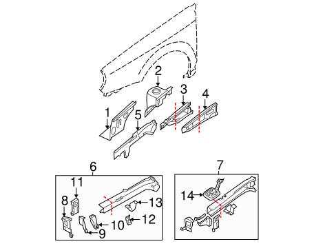 Structural Components & Rails for 2002 Subaru Impreza