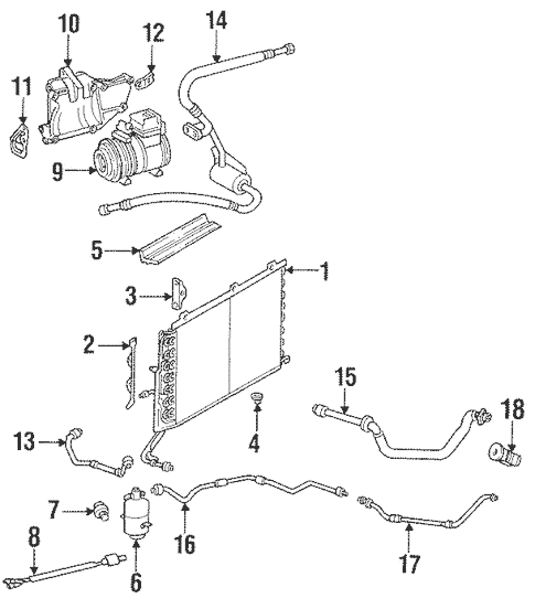 Condenser, Compressor & Lines for 1999 Mercedes-Benz SL