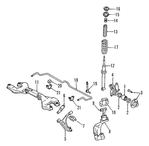 FRONT SUSPENSION for 1993 Infiniti G20