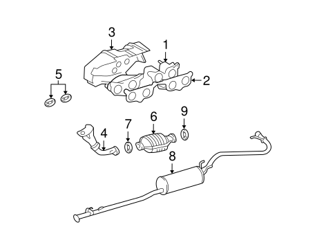 Genuine OEM EXHAUST COMPONENTS Parts for 1995 Toyota