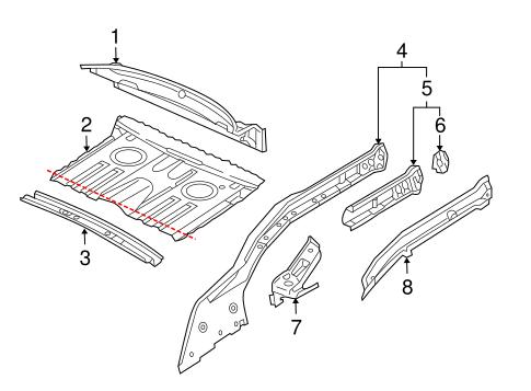 Rear Floor & Rails for 2000 Porsche Boxster
