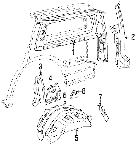 Genuine OEM INNER STRUCTURE Parts for 1997 Toyota Land