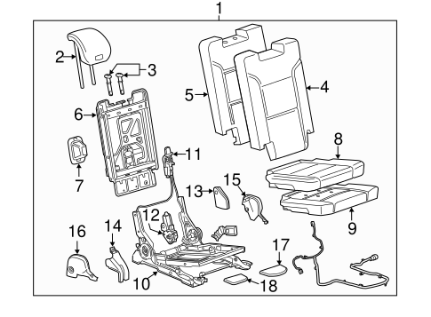 OEM REAR SEAT COMPONENTS for 2015 Chevrolet Suburban