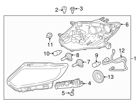 HEADLAMP COMPONENTS for 2014 Nissan Rogue