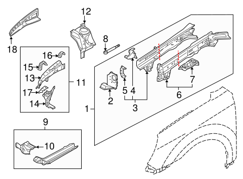 Structural Components & Rails for 2013 Subaru Outback