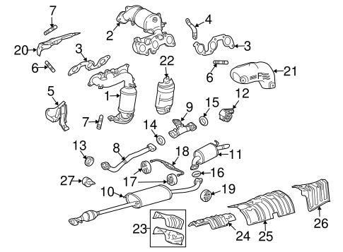 Genuine OEM Exhaust Components Parts for 2010 Toyota